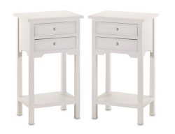 Set of 2 Wood White End Tables Nightstands with Two Drawers