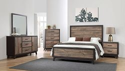 Kings Brand La Forest Queen Size Rustic Mahogany & Dark Ebony Wood Bedroom Set, Bed. Dresser ...