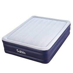Sable Air Bed with Built-in Electric Pump, Raised Blow up Inflatable Air Mattress with a Storage ...