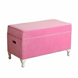 HomePop K7579-B220 Youth Storage Bench, Pink