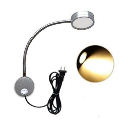 Wefond 5W Wall Mounted Reading Light Flexible Gooseneck LED Sconce Lamp with Plug & Switch f ...