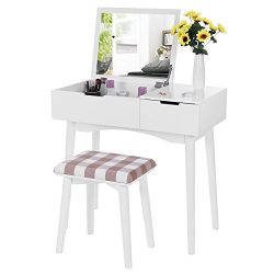 BEWISHOME Vanity Set with Flip Top Mirror & Cushioned Stool 4 Dividers Sliding Drawer Dressi ...