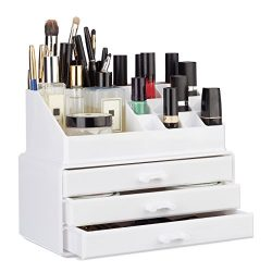 Relaxdays Small Makeup Organizer, 2-Piece Cosmetics Storage with Drawers, Stackable Makeup Shelf ...