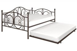 DHP Bombay Full-Size Metal Daybed Frame with Twin-Size Trundle Bed Frame, Bronze