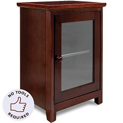 Stony-Edge Espresso Night Stand – Easiest Assembly, No Tools Required – Premium Two Shelf  ...