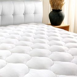 "California King Mattress Pad Cover 8-21""Deep Pocket – Cooling Mattress Topper Overfilled 3 ..."