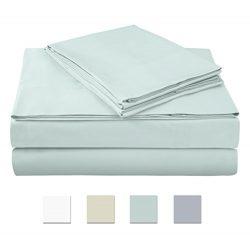 500 Thread Count 100% cotton Sheet Set, Aqua Full Sheet Set, 4-piece Long Staple Combed Pure Cot ...