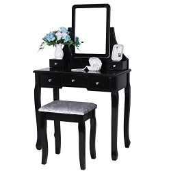 BEWISHOME Vanity Set with Mirror & Cushioned Stool Dressing Table Vanity Makeup Table Desk 5 ...