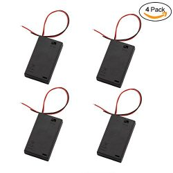 ZRM&E 4-Pack AAA 3 x 1.5V Battery Case Holder,3 Slots x 1.5V AAA Battery Spring Clip Storage ...