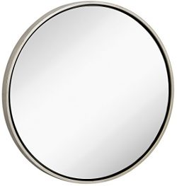 Clean Large Modern Antiqued Silver Circle Frame Wall Mirror | Contemporary Premium Silver Backed ...