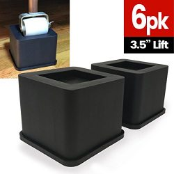 iPrimio Bed and Furniture Square Risers – Black 6Pack 3.5 INCH Size – WONT CRACK &am ...