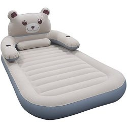 WeTong Cartoon Twin Size Air Mattress, Inflatable Toddler Travel Bed Firm Airbed with Detachable ...
