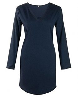 Luca Women Long Solid Blouse and Tops Mini Dress, Ladies Chiffon 3/4 Long Sleeve Loose Causal T- ...