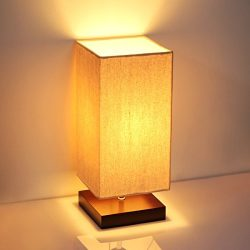 Bedside Table Lamp, SHINE HAI Minimalist Solid Wood Simple Desk Lamps Nightstand Lamp with Fabri ...