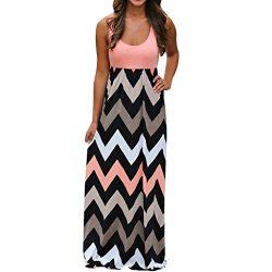 Tsmile ClearanceWomen DressPlus Size Womens Summer Boho Wave Striped Maxi Dress Ladies Retro Bea ...