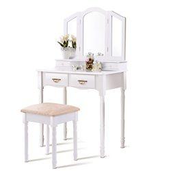 Giantex Tri Folding Mirror Bathroom Vanity Makeup Table Stool Set Home Furni W/4 Drawers (White)