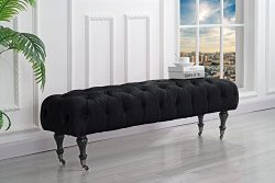 Classic Tufted Velvet Bedroom Vanity Bench with Casters (Black)