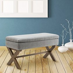 Fabric Upholstered Storage Ottoman Bench, Large Rectangular Gray Footrest Collapsible Bench Seat ...