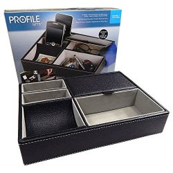 Profile Gifts 10 Inch Black Leatherette Valet Tray – 5 Compartments