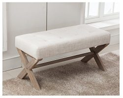 Fabric Upholstered Ottoman Bench Seat, Large Rectangular Footstool Rustic Bench with X-Shaped Ru ...