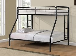 Merax Twin-Over-Full Metal Bunk Bed with Ladder, Multifunctional Design, Space Saving (black)