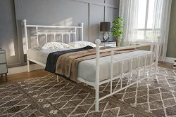 DHP Manila Metal Bed with Victorian Style Headboard and Footboard, Includes Metal Slats, Queen S ...