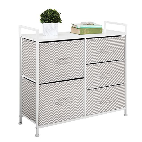 mDesign Fabric 5-Drawer Dresser and Storage Organizer Unit for Bedroom, Dorm Room – Taupe/ ...