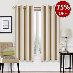 EASELAND Blackout Curtains 2 Panels Set Room Darkening Drapes Thermal Insulated Solid Grommets W ...