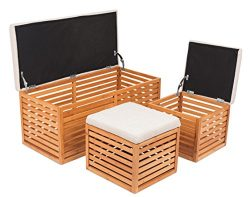 BirdRock Home Bamboo Storage Bench and Ottomans Set | Bamboo Bench with 2 Nesting Ottomans | Rev ...