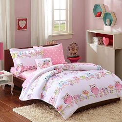 Mi-Zone Kids Wise Wendy Queen Comforter Sets For Girls – Pink, Owl – 8 Pieces Kids Girl Be ...