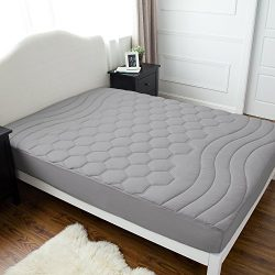 Bedsure Quilted Mattress Pad Twin XL/Twin Extra Long Size Grey Fitted sheet Mattress Cover, Supe ...
