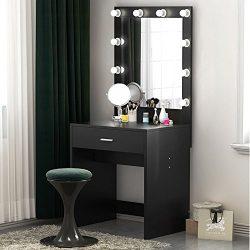 Tribesigns Vanity Set with Lighted Mirror, Makeup Vanity Dressing Table Dresser Desk Bedroom (10 ...