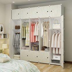 KOUSI Portable Closet Wardrobe Organizer Clothes Armoire Cube Storage Dresser for Bedroom, Large ...