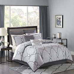 Madison Park MP10-4044 Lavine 12 Piece Jacquard Comforter Set, Silver, Queen
