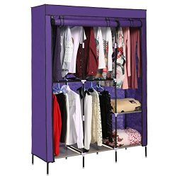 Pagacat Portable Wardrobe Closet, Fabric Clothes Armoire Storage Organizer with Rod and Shelves[ ...