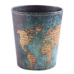 Hmane Leather Wastebasket Round Trash Can Desk Waterproof Little Waste Mini Container for Home O ...