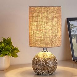 Bedside Table Lamp, Glass Mosaic Bedside Desk Lamp, Handcraft Nightstand Lamp, Decorative Bedroo ...