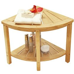 Corner Shower Bench with 2-Tier Storage Shelf,Deluxe Bamboo Shower Bench Bath Stool Applicable t ...