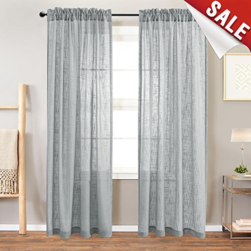 Linen Look Sheer Window Curtains For Living Room Curtain