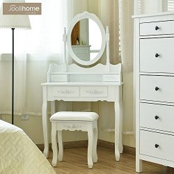 Vanity Makeup Table Set, Dressing Table with Stool and Mirror for Bedroom (1 Mirror + 4 Drawer+S ...