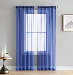 HLC.ME Royal Blue 54″ inch x 63″ inch Window Curtain Sheer Voile Panels for Bedroom, ...
