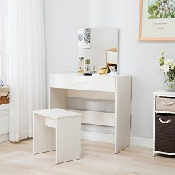 Mecor Vanity Makeup Table Set Dressing Table with Stool and Square Mirror,White