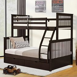 Harper&Bright Designs Twin-over-Full Bunk Bed with Ladders and Drawers(Espresso)