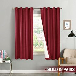 Blackout Curtains for Bedroom Thermal Insulated Window Curtain Panels for Living Room 63 inches  ...