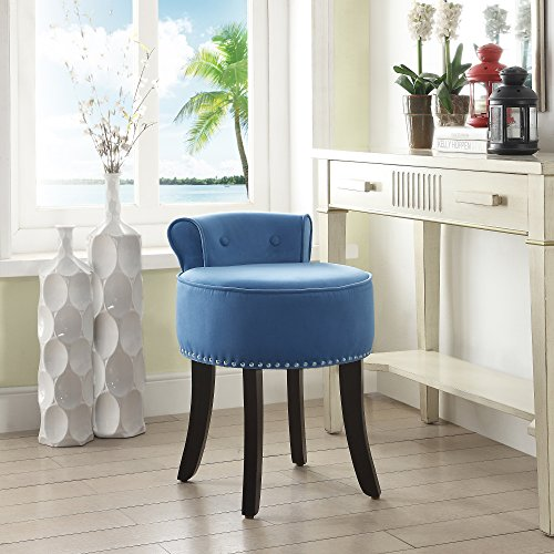 Taylor Blue Velvet Vanity Stool Nailhead Trim Roll