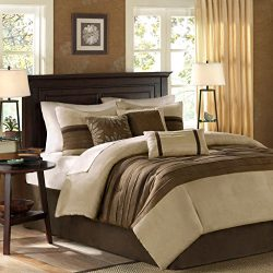 Madison Park Palmer Full Size Bed Comforter Set Bed In A Bag – Taupe, Brown, Pieced Stripe ...
