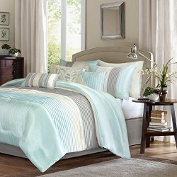 Madison Park Amherst Queen Size Bed Comforter Set Bed In A Bag – Aqua, Ivory, Grey, Pieced ...