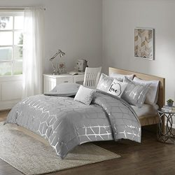 Intelligent Design Raina Comforter Set King/Cal King Size – Grey Silver, Geometric – 5 Pie ...