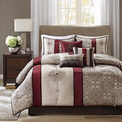 Madison Park Donovan Queen Size Bed Comforter Set Bed In A Bag – Taupe, Burgundy, Jacquard ...