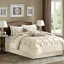 Madison Park Laurel Queen Size Bed Comforter Set Bed In A Bag – Ivory, Wrinkle Tufted Plea ...